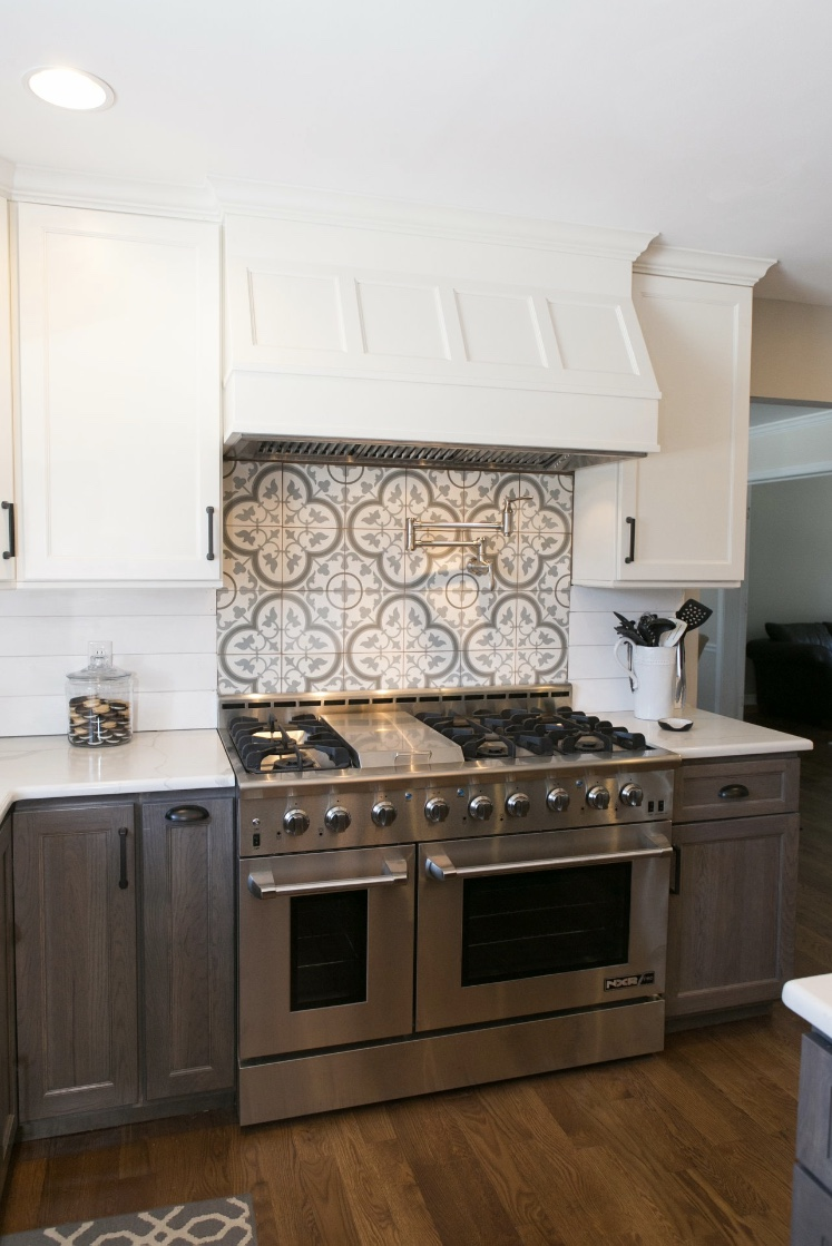 Encaustic tile kitchen backsplash