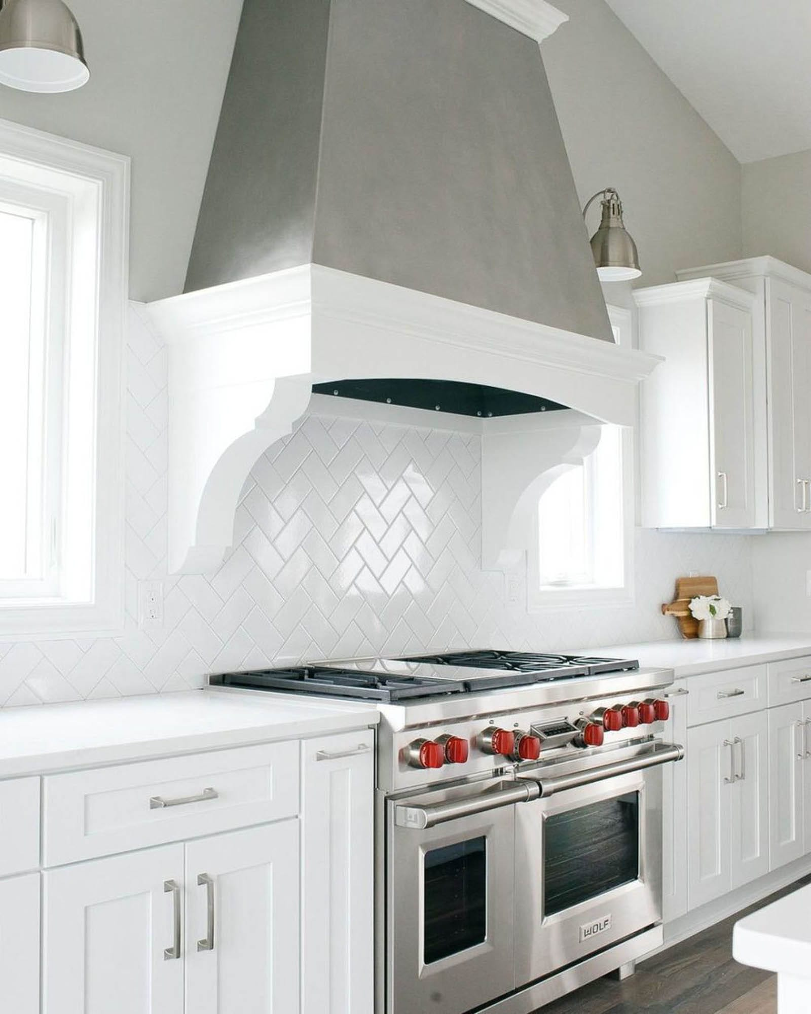 White herringbone subway tile