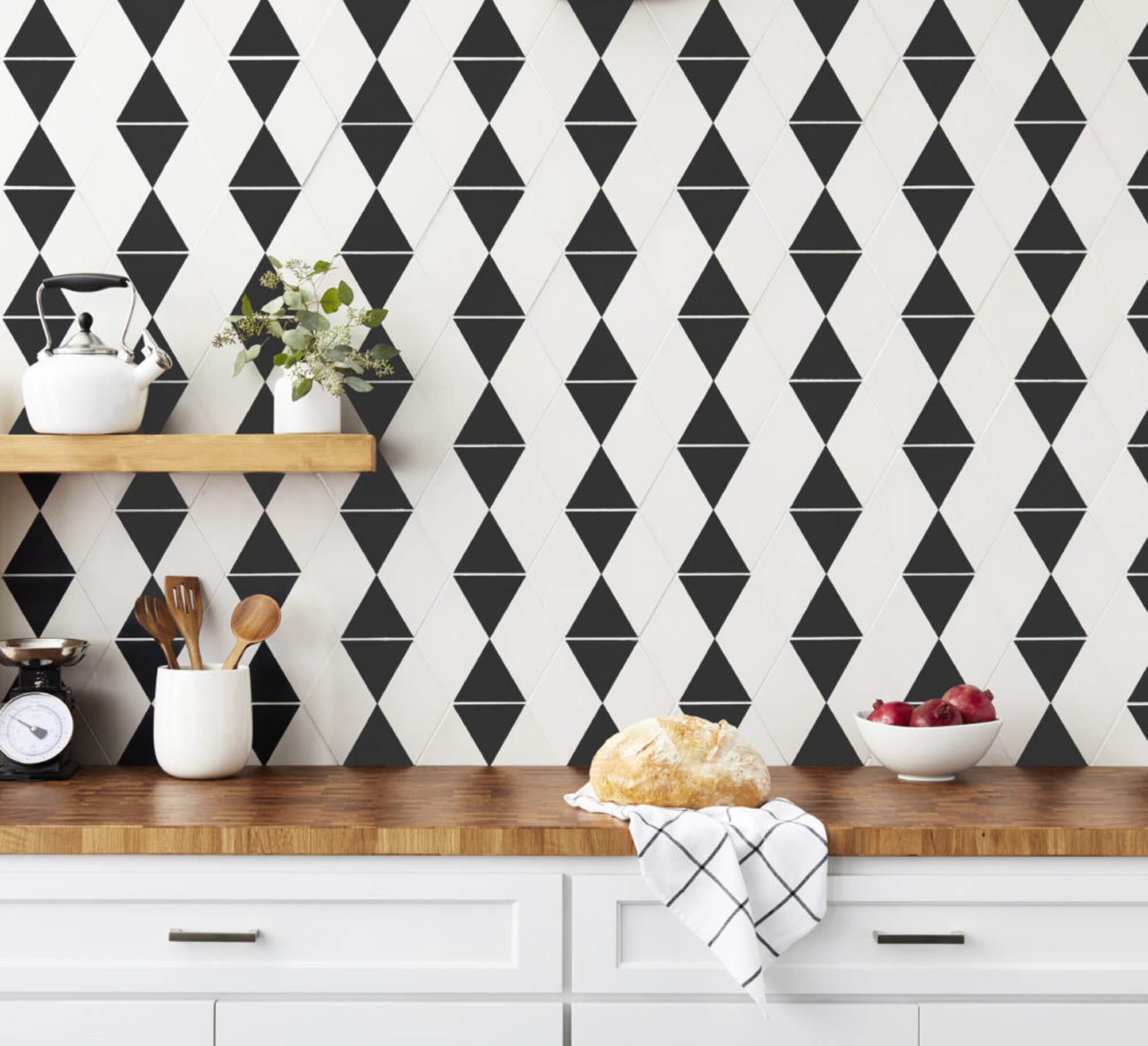 Black and white geometric encaustic backsplash