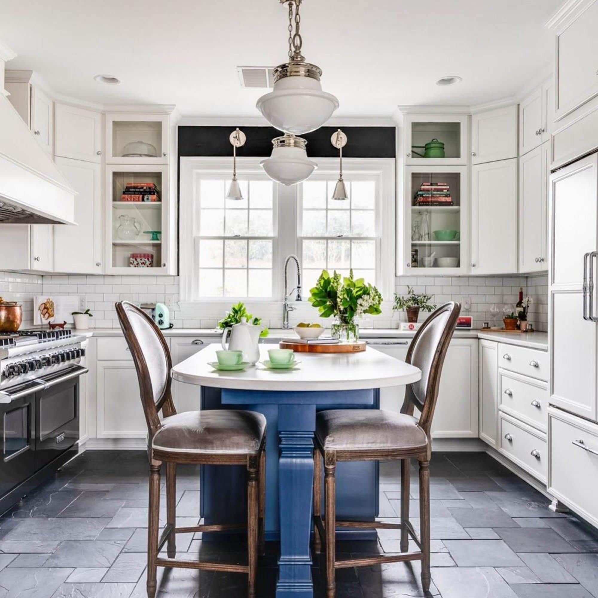 Royal blue kitchen island