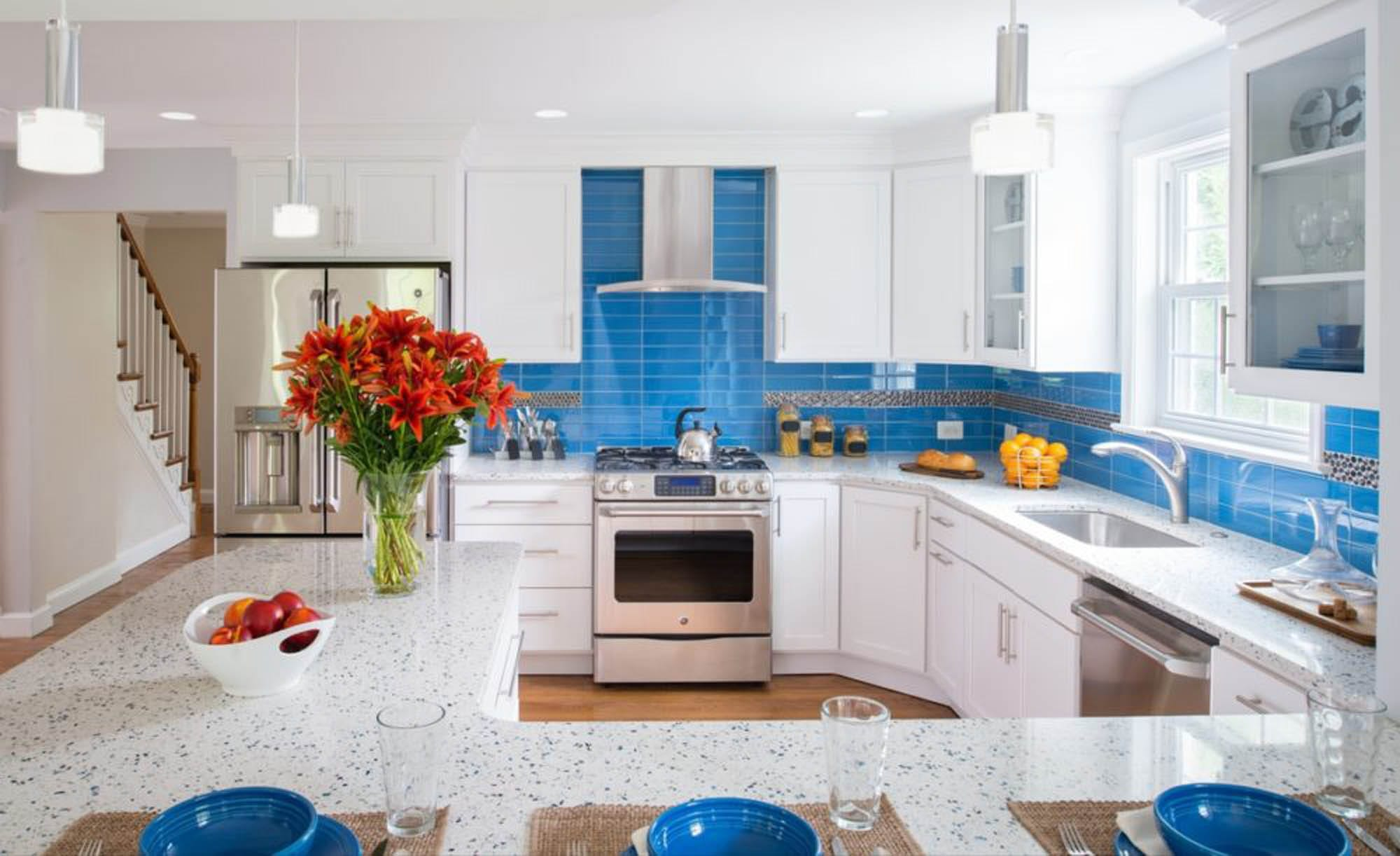 Blue straight stack kitchen subway tile