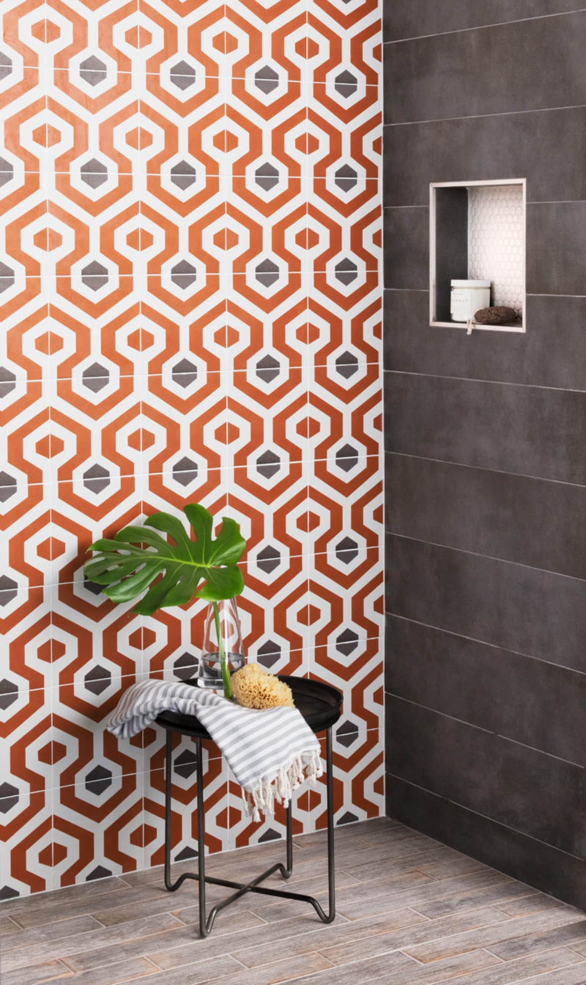 Bold geometric encaustic-look porcelain tile