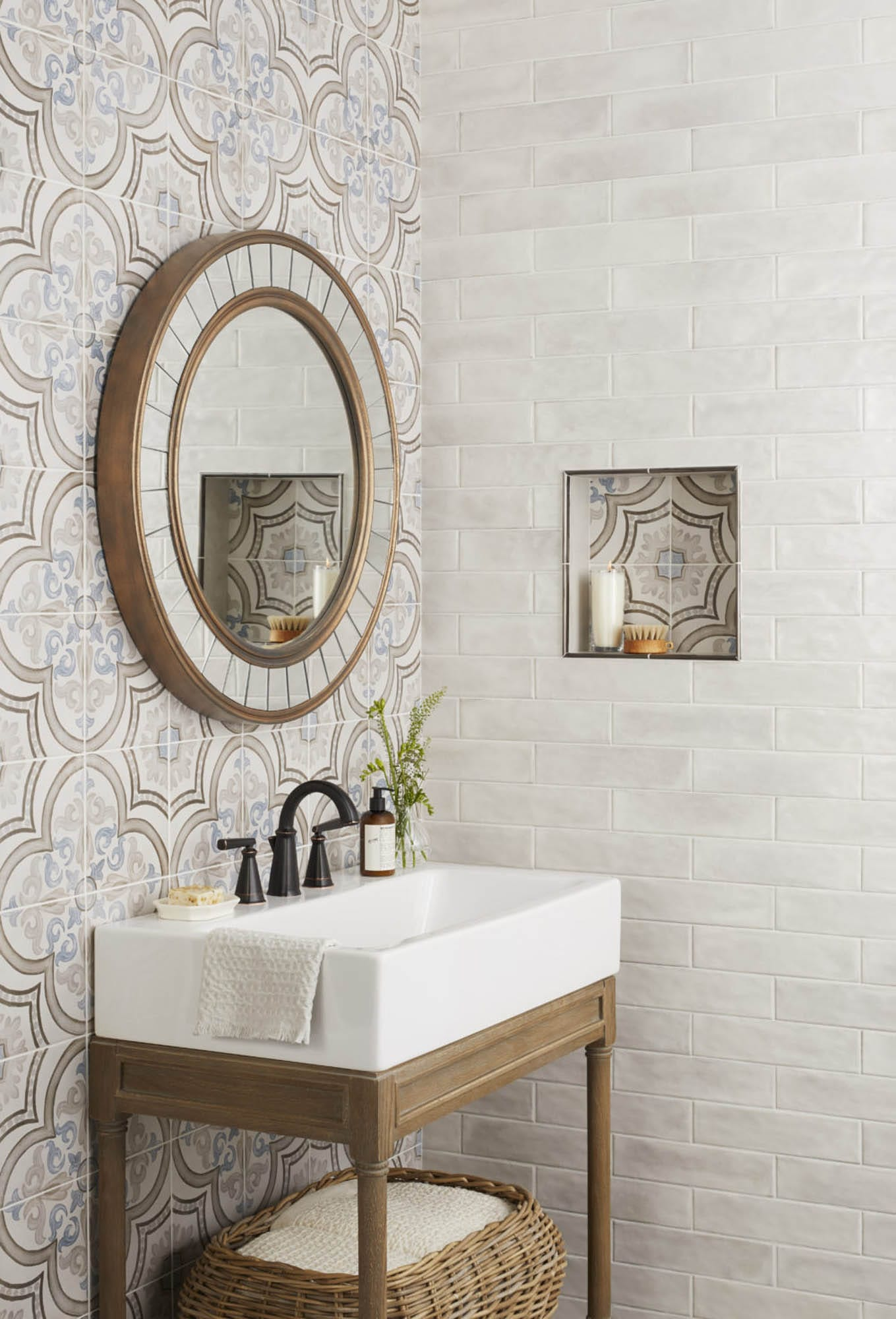 Modern farmhouse encaustic-look porcelain tile
