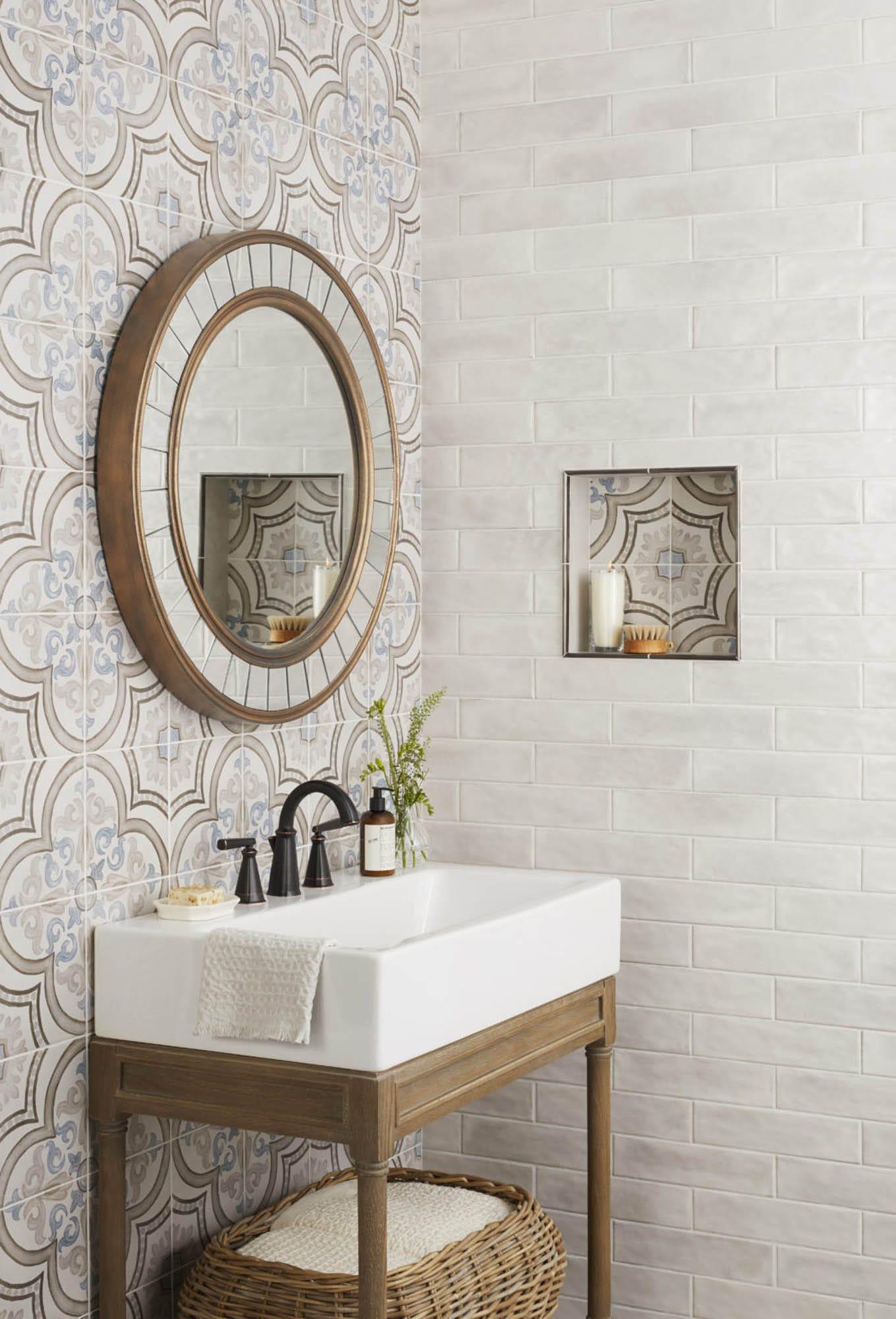 Modern farmhouse encaustic-look porcelain tile