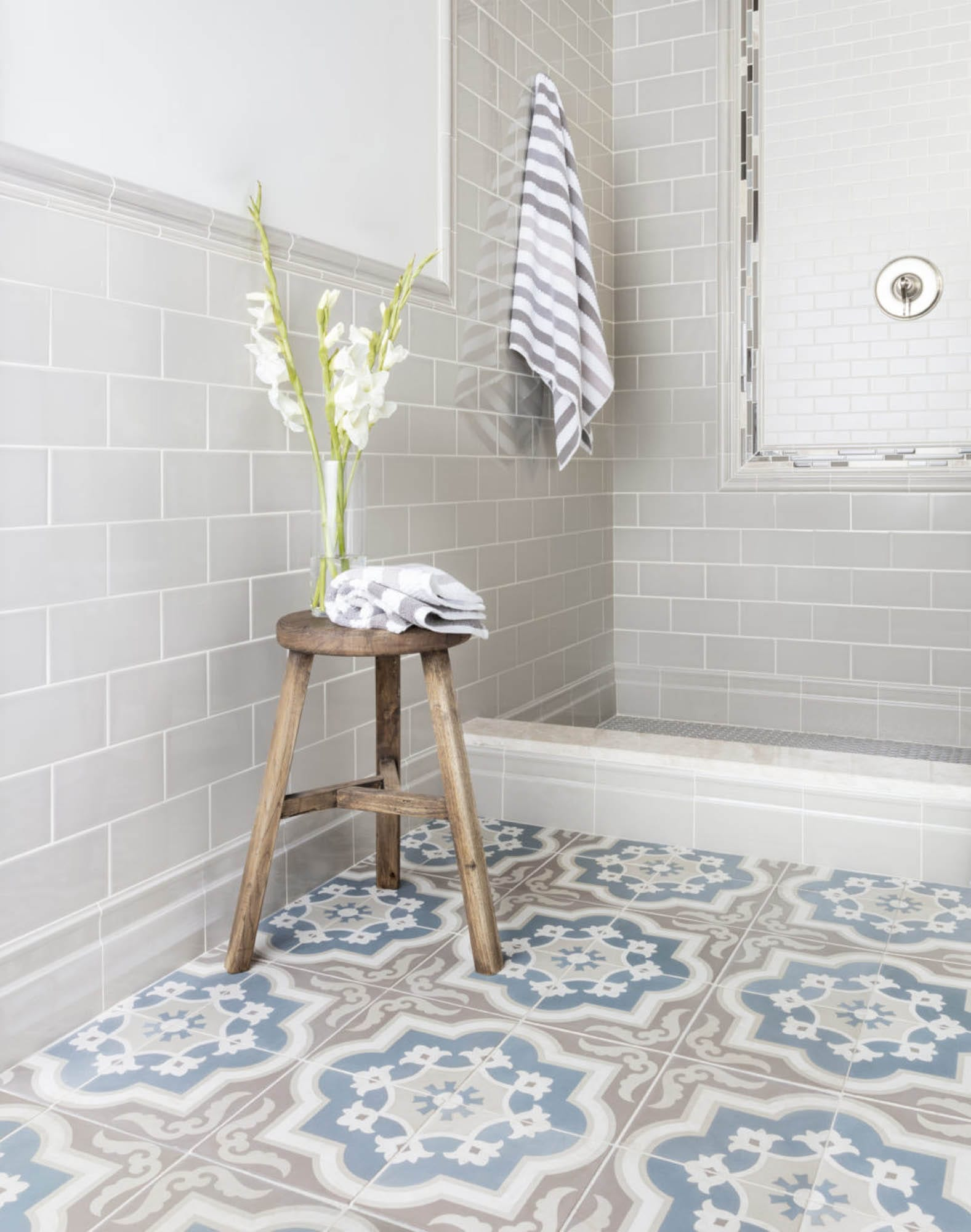 Encaustic cement bathroom floor tile
