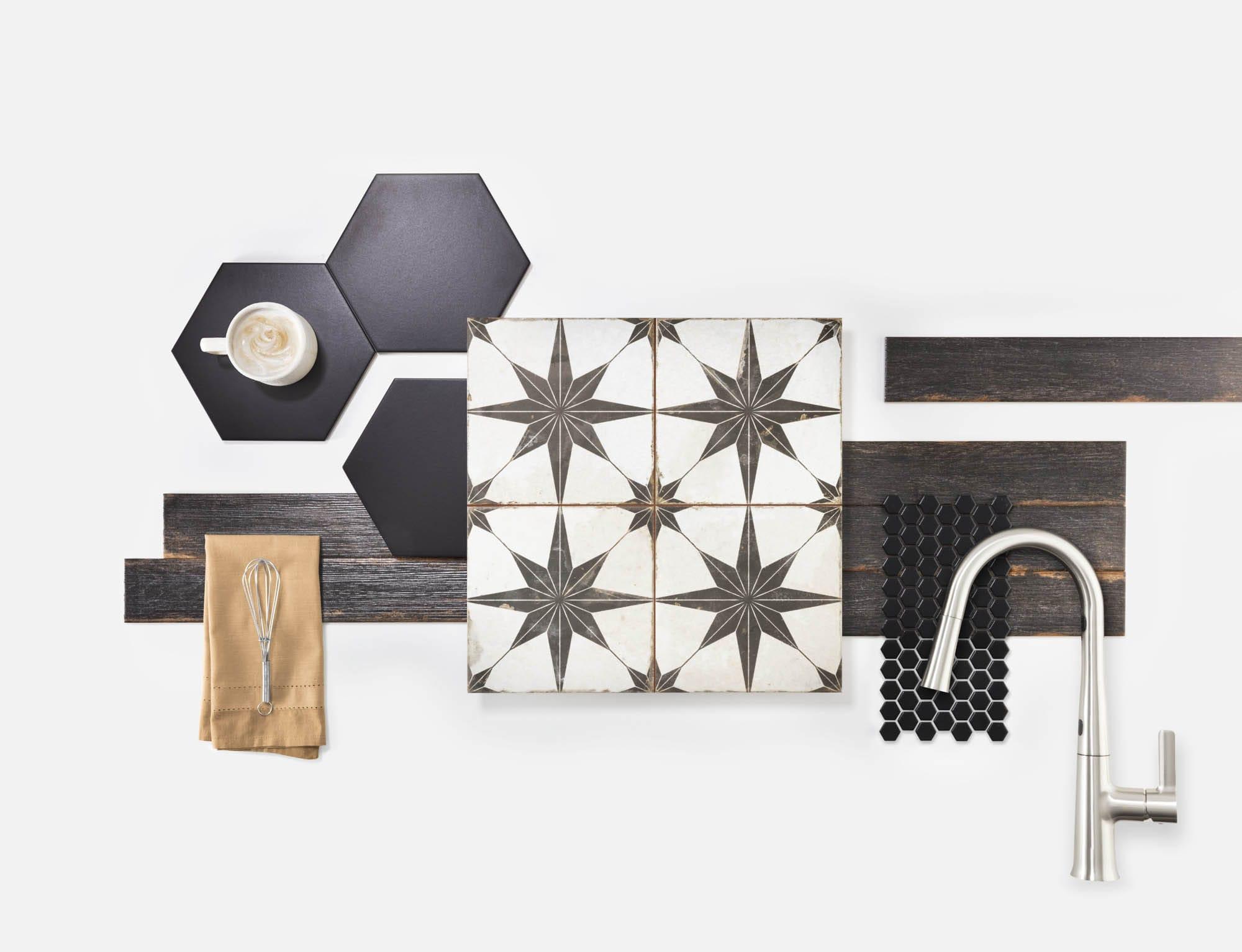 Star ceramic encaustic-look tile pairings