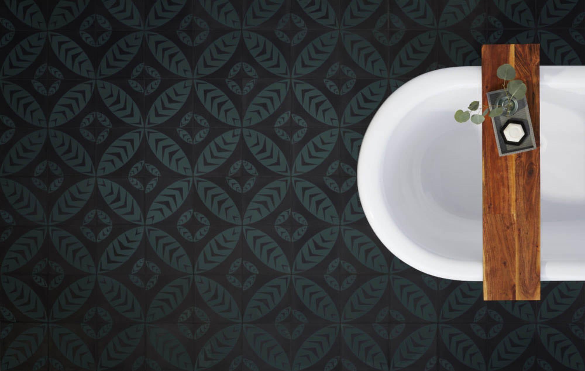 Black and green leaf motif tile