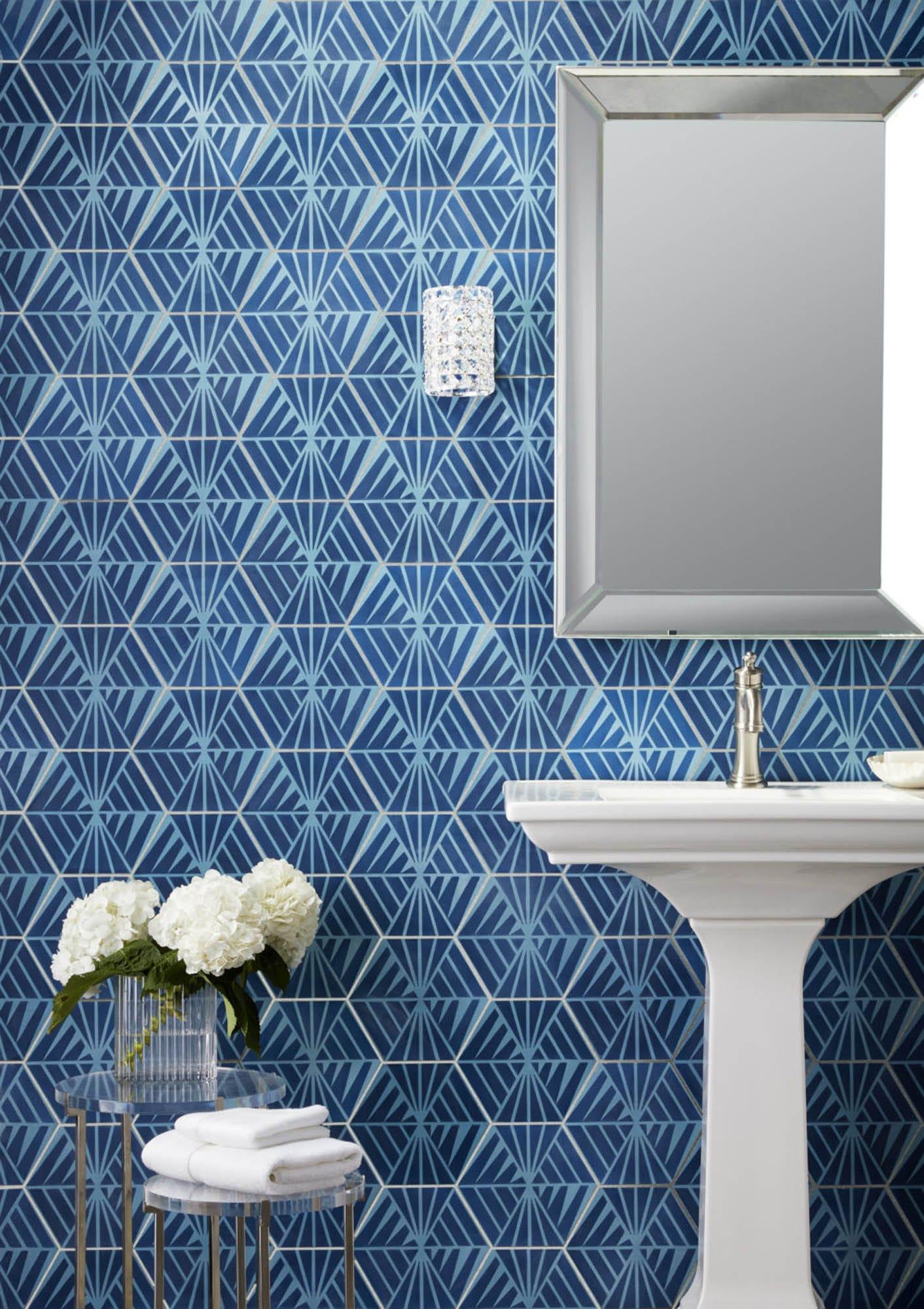 Blue hexagonal encaustic wall tile