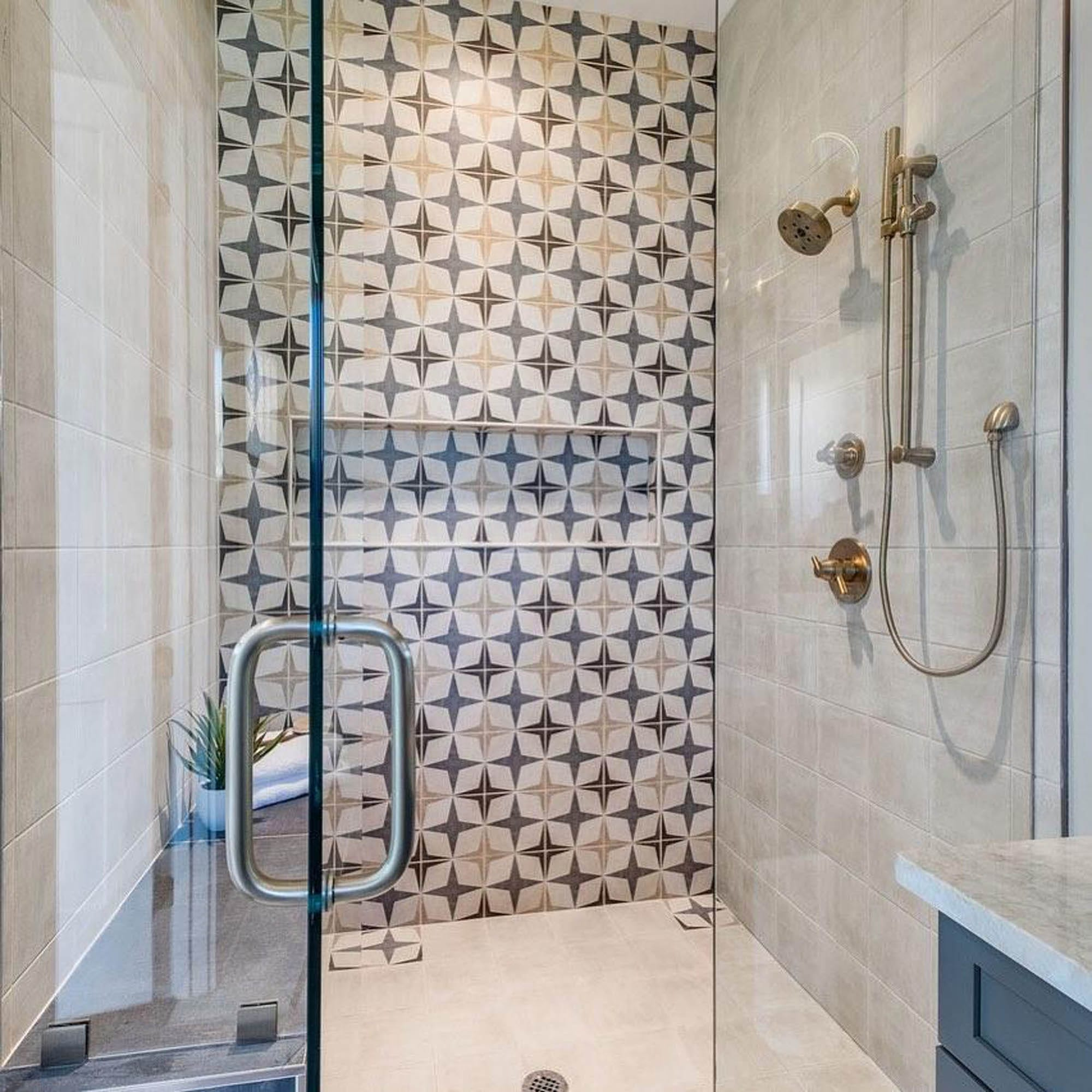 Star design encaustic-look shower wall