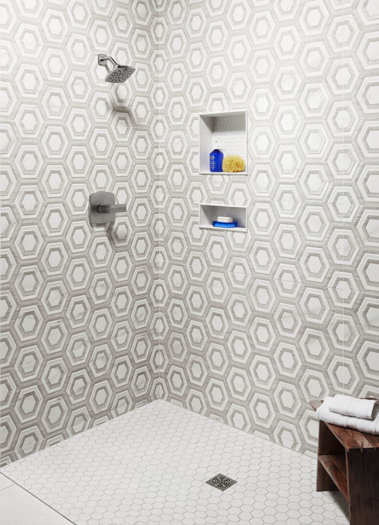 Hexagon shower wall and floor tile