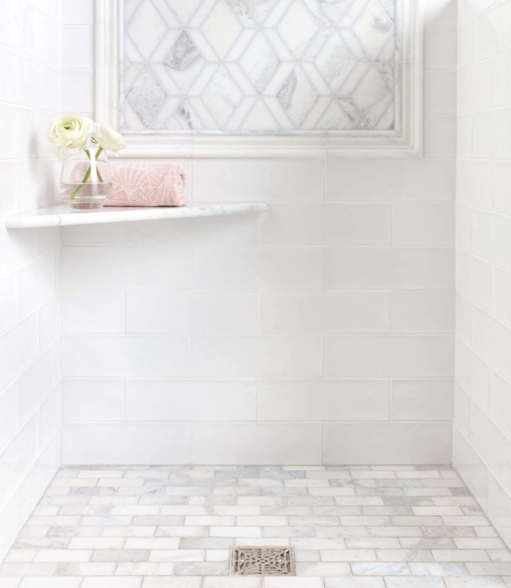 All white shower tile