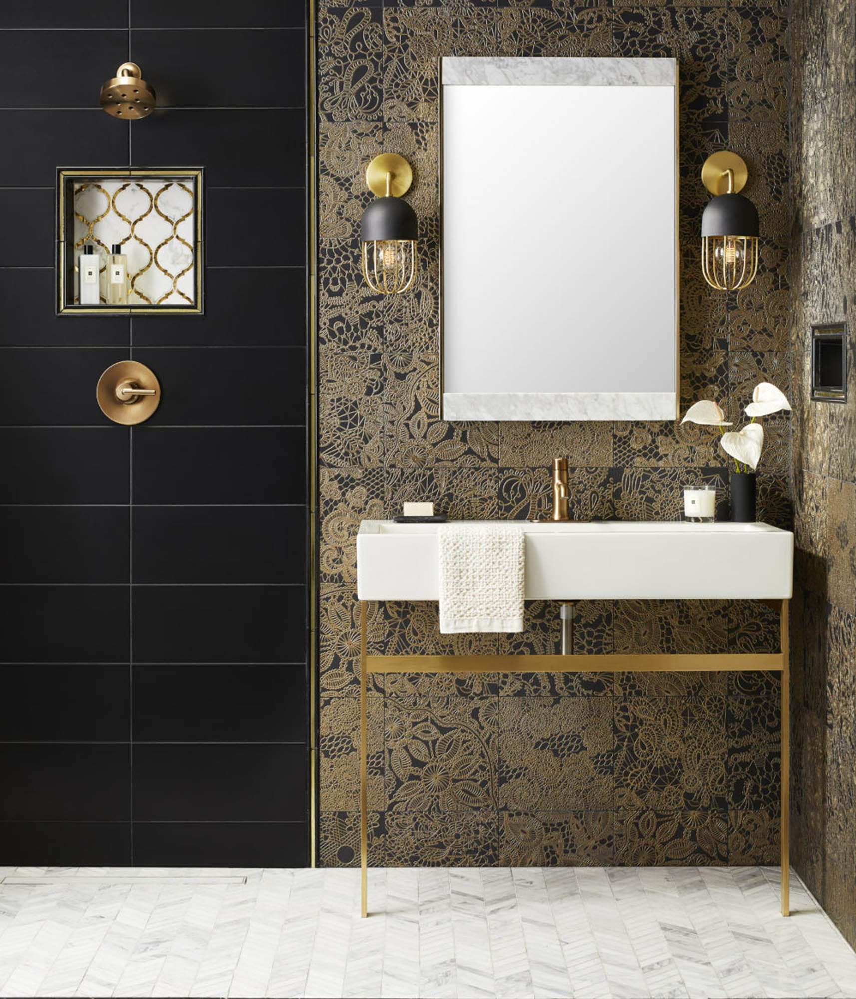 Black, gold and white bathroom tile