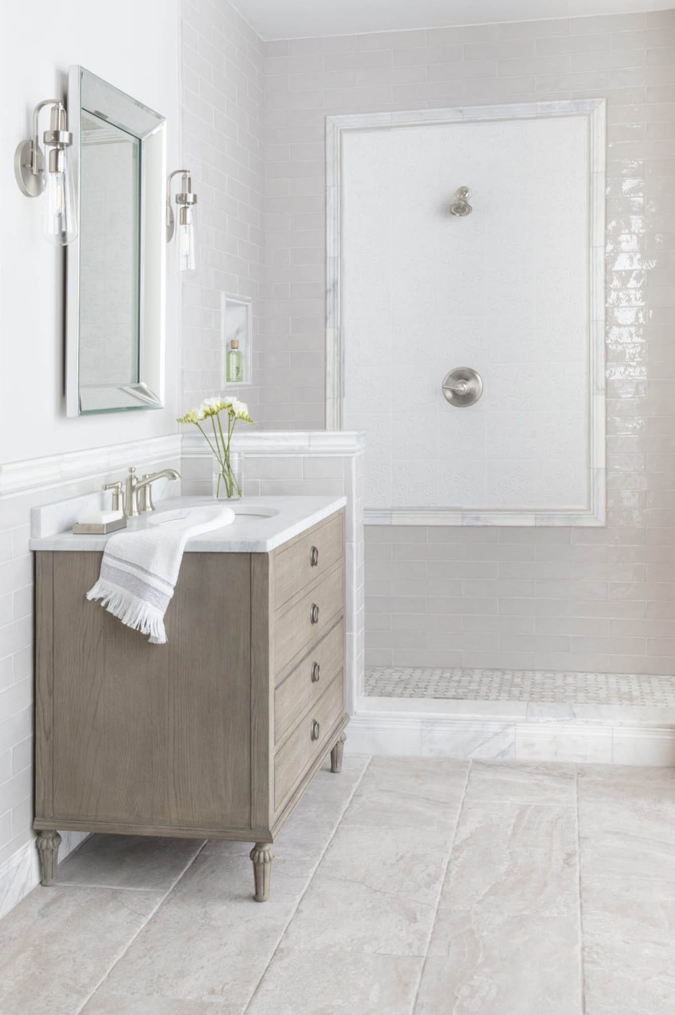 Serene ivory bathroom tile