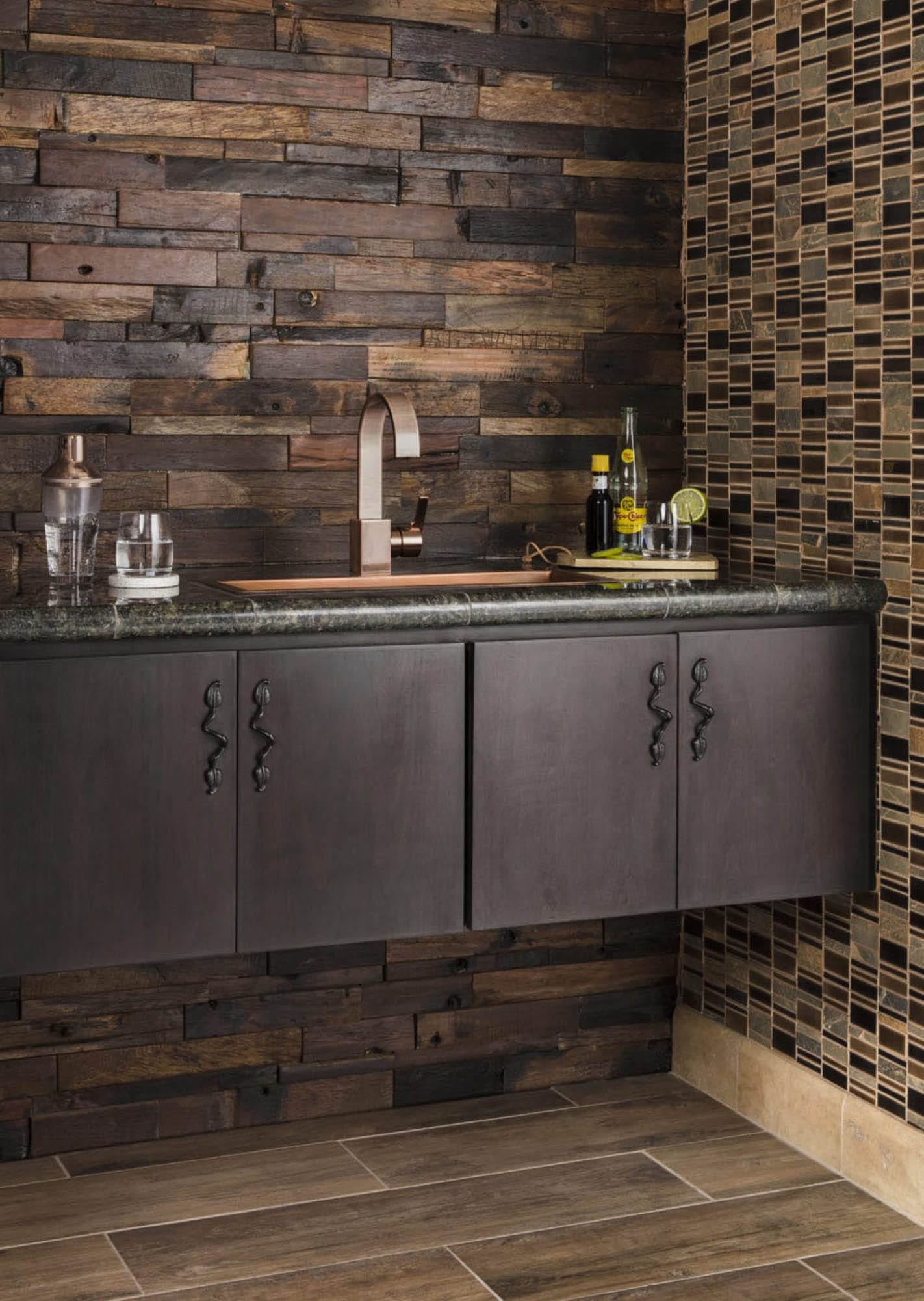 Wood and rich brown tiles