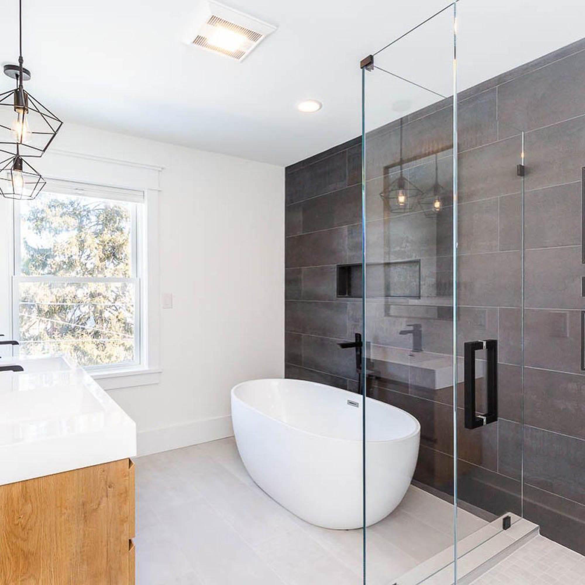 Contrasting floor and wall bathroom