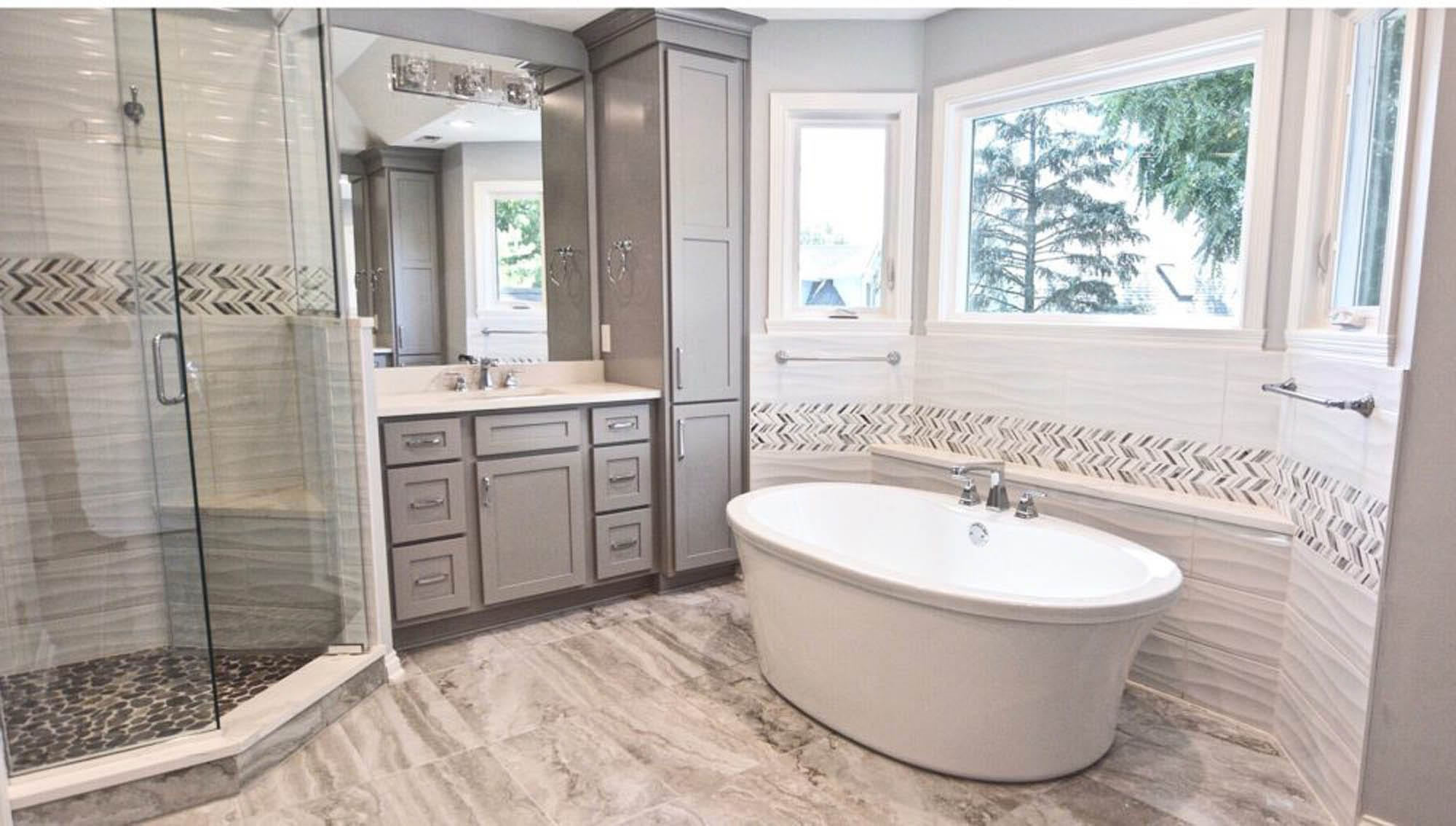 Cream and brown bathroom tile
