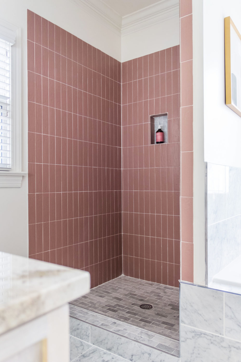 pink shower walls