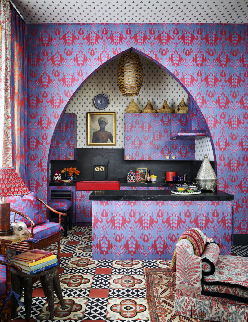Bold patterned accent wall