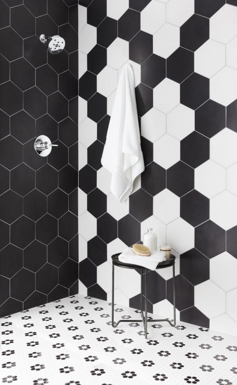 Black and white hexagon shower