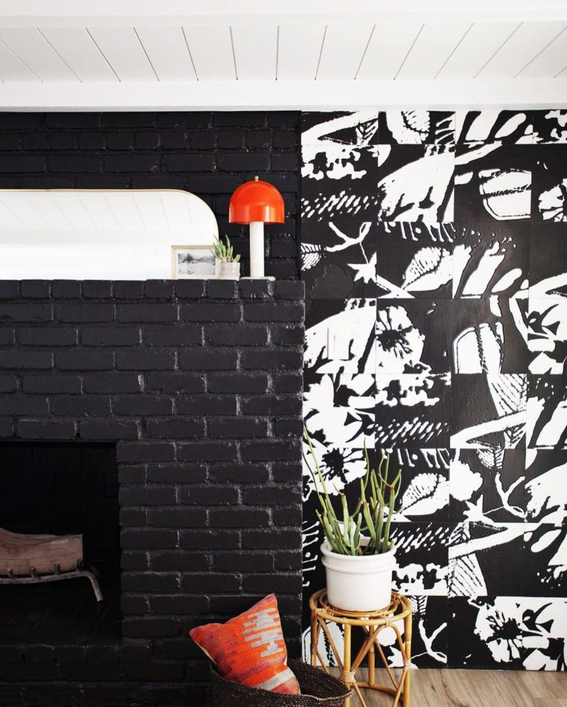 Dramatic black and white art wall