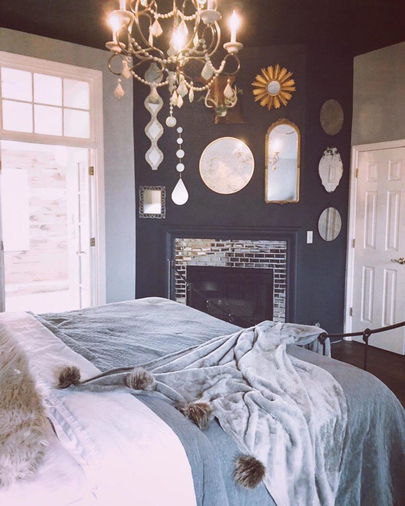 Mirror accents in bedroom