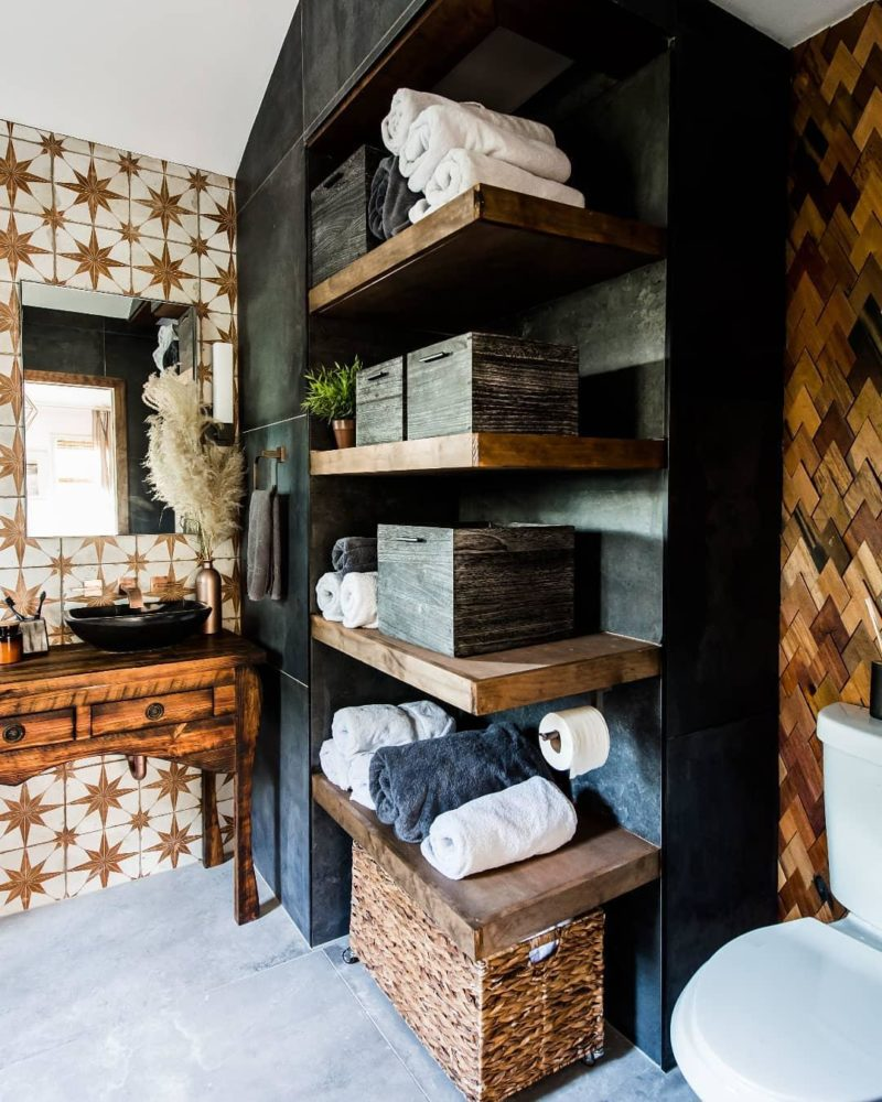 Patterned and wood tile bathroom
