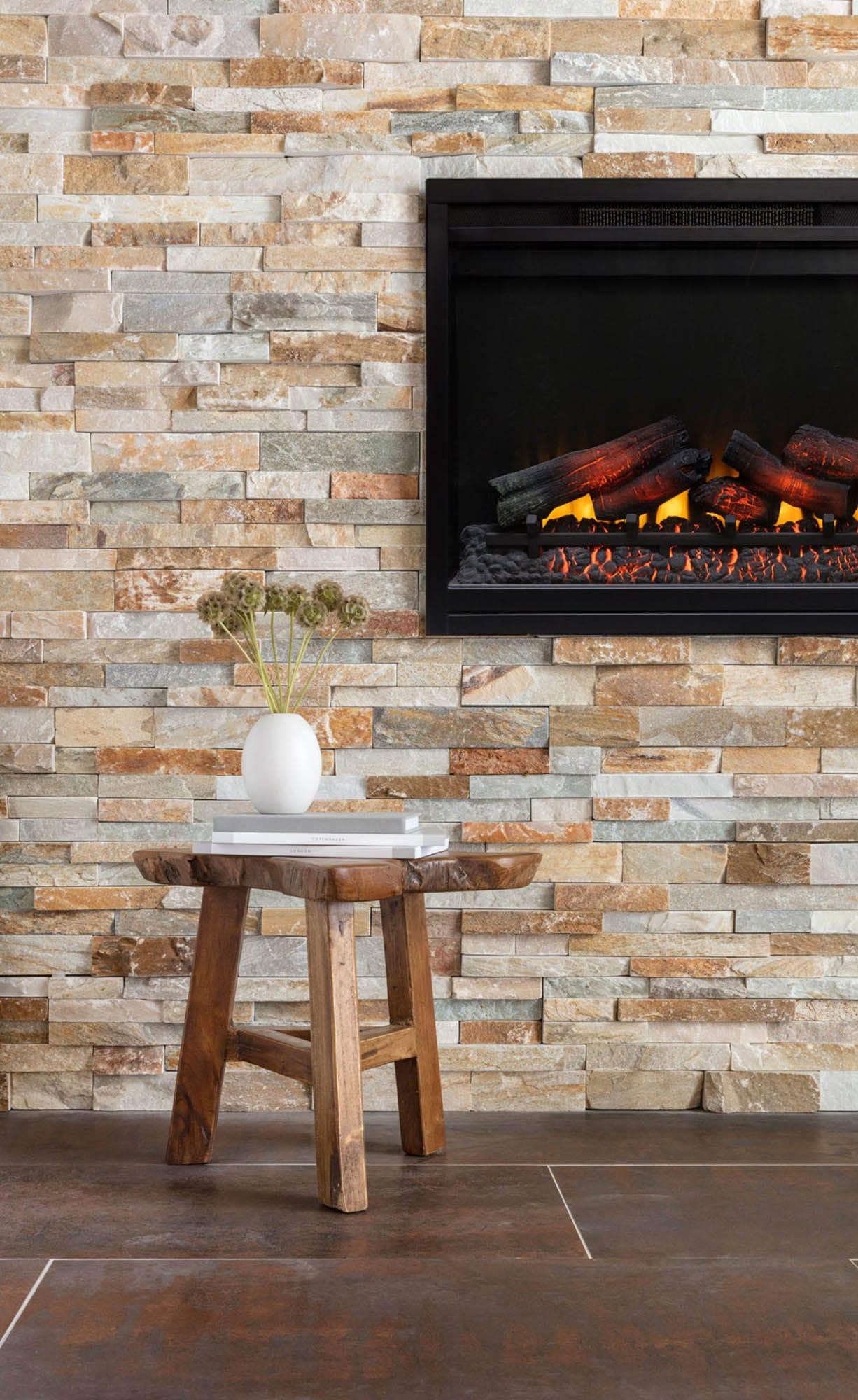 Natural finish stone fireplace wall