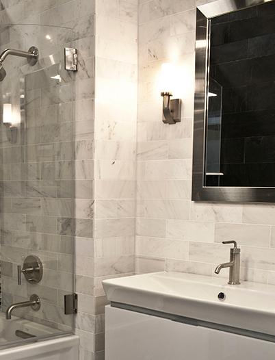 Satin finish marble bathroom