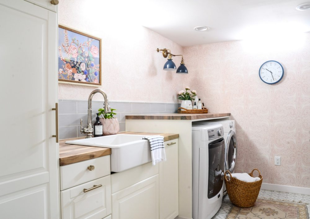 Pastel themed laundry room
