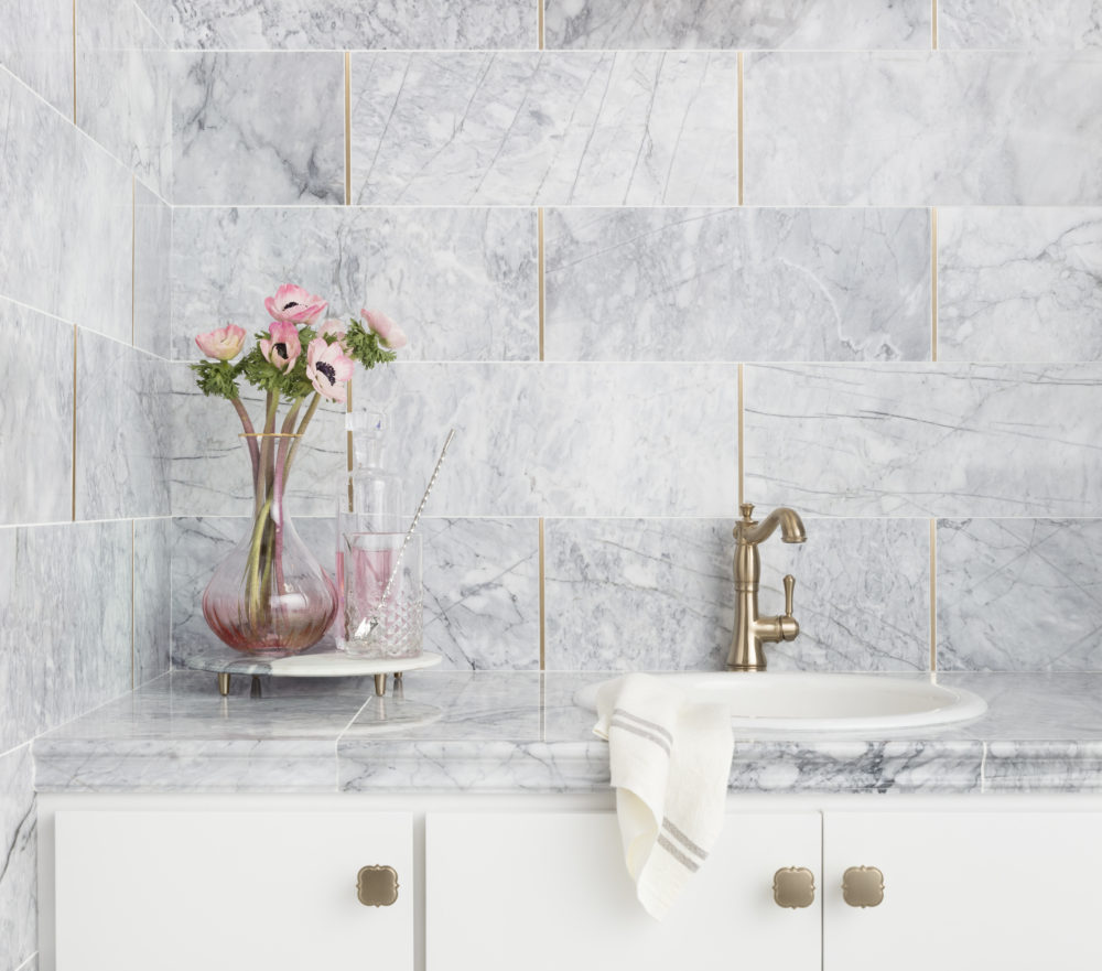 White marble backsplash