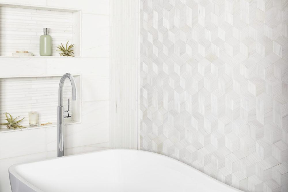 Honed finish white marble bathroom