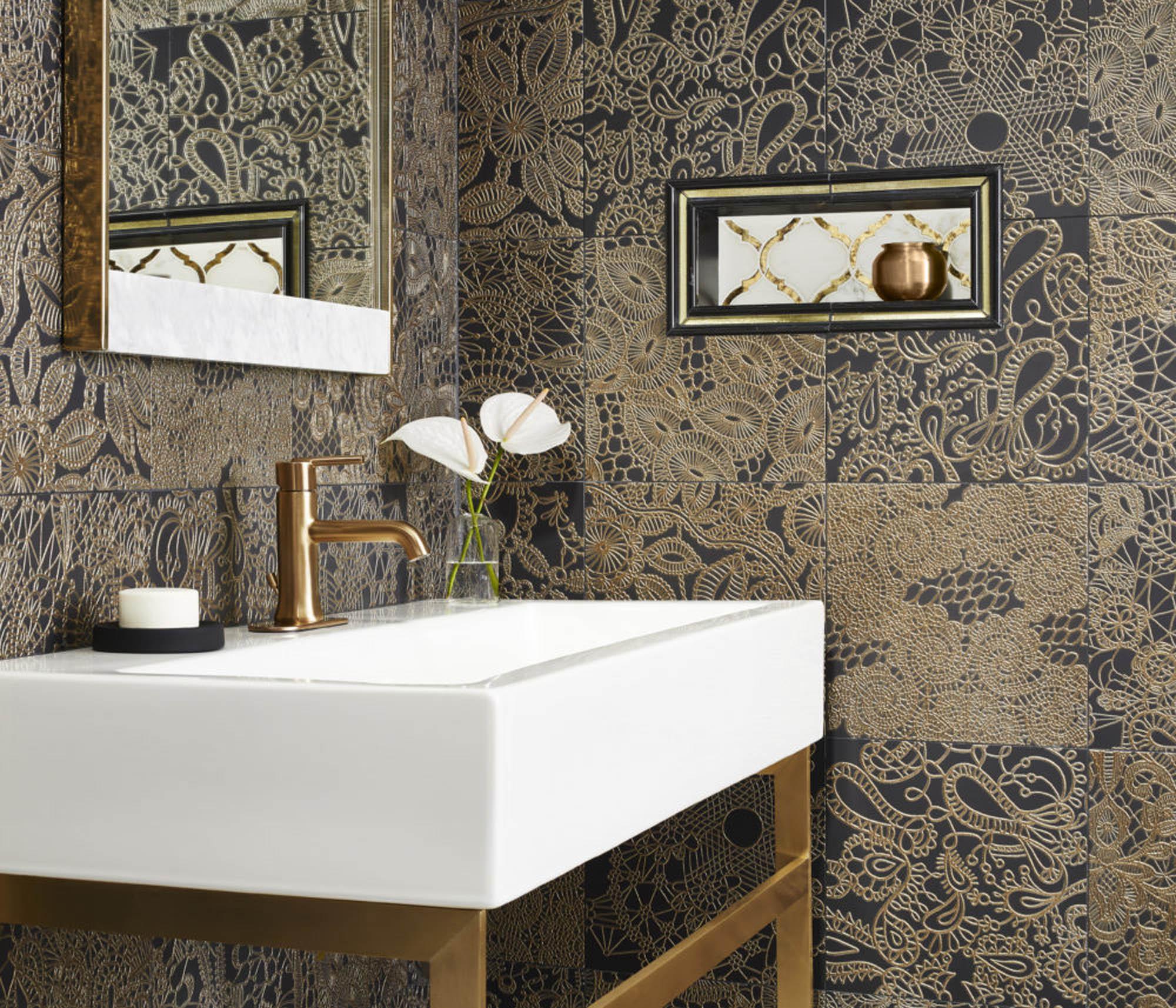 Multifired gold and black bathroom tile