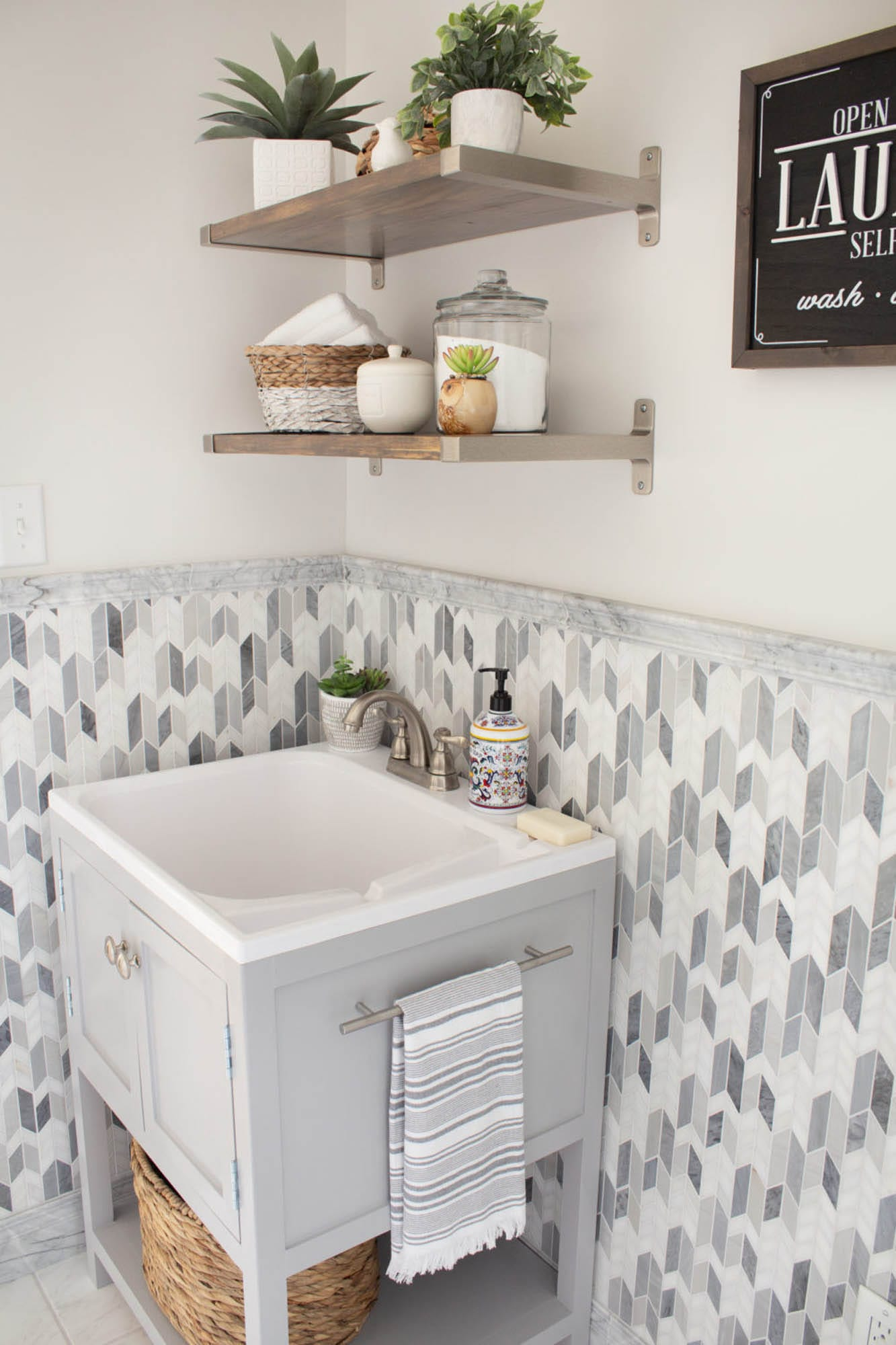 Marble mosaic laundry room tile