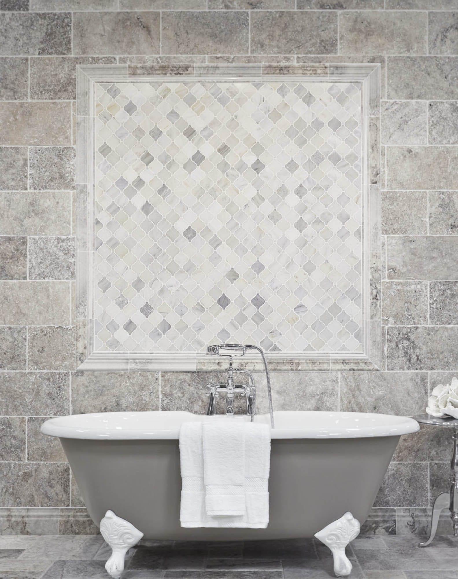 Tumbled finish stone bathroom