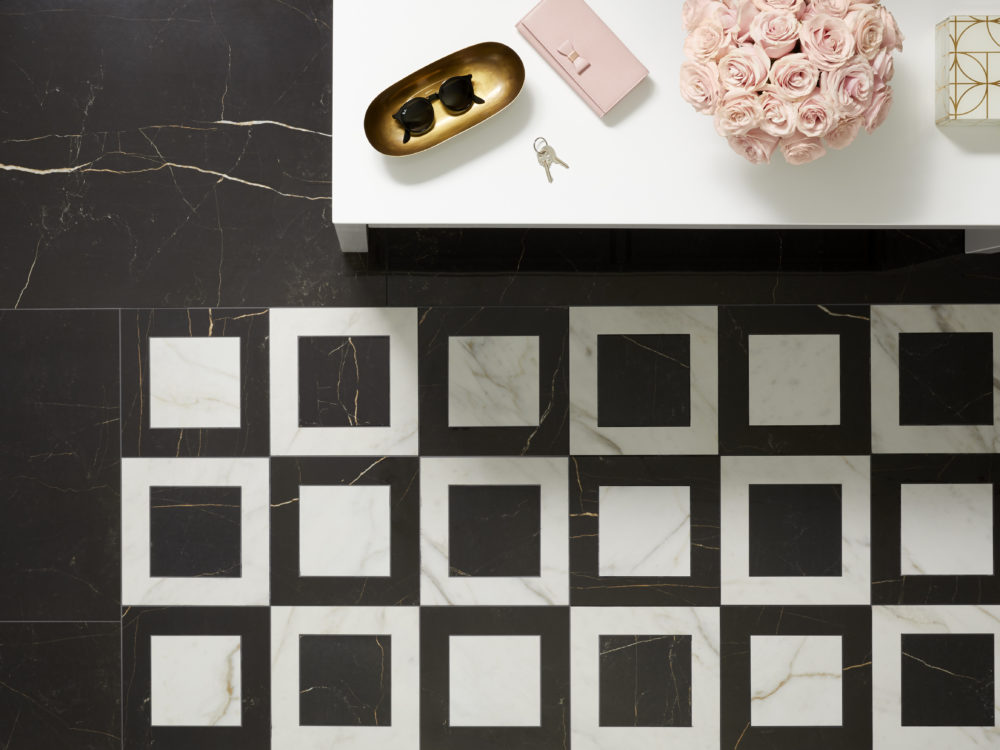 Polished black and white stone-look floor