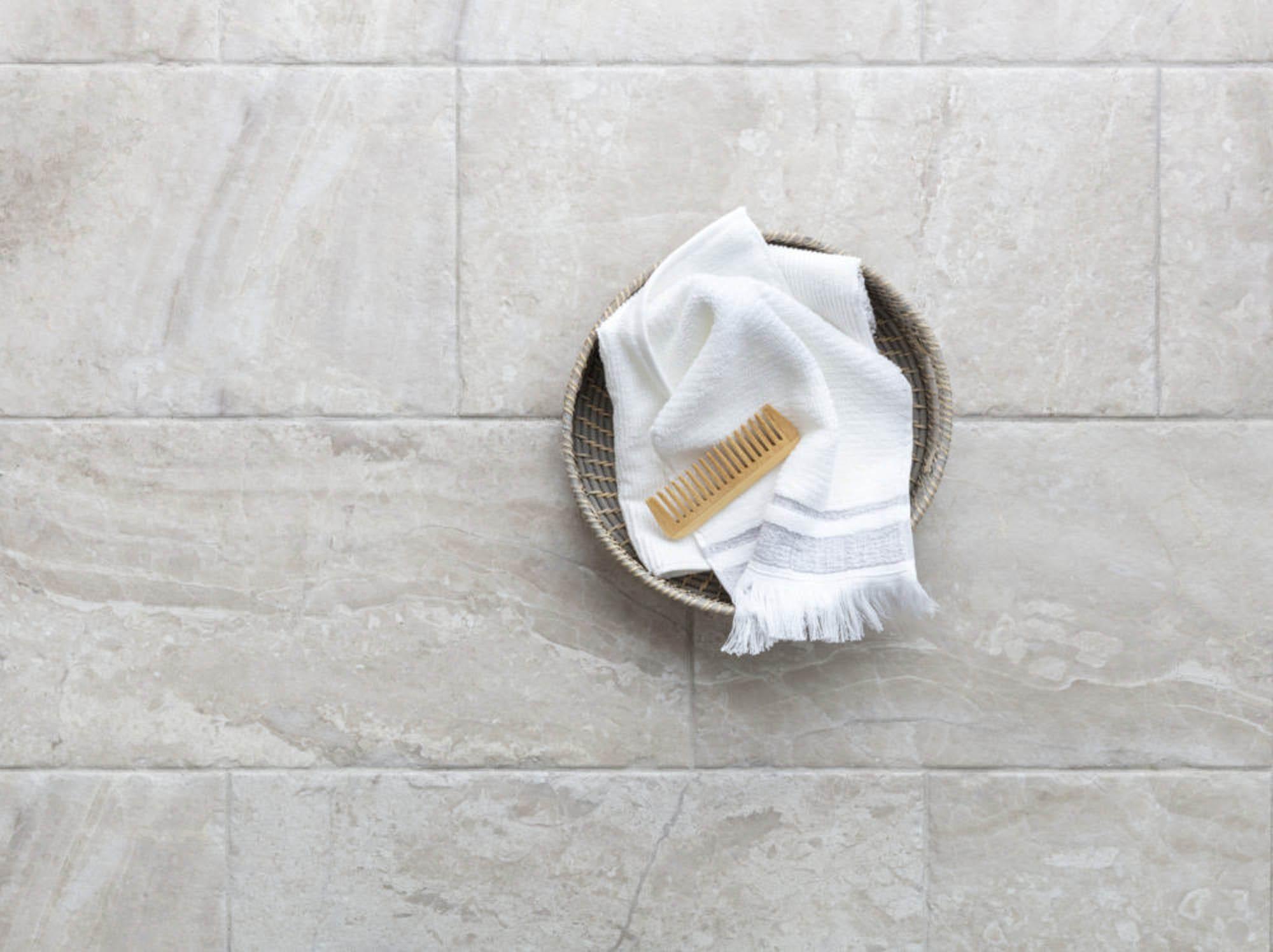 Textured bathroom floor tile