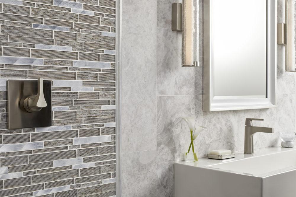 Brushed finish grey marble bathroom