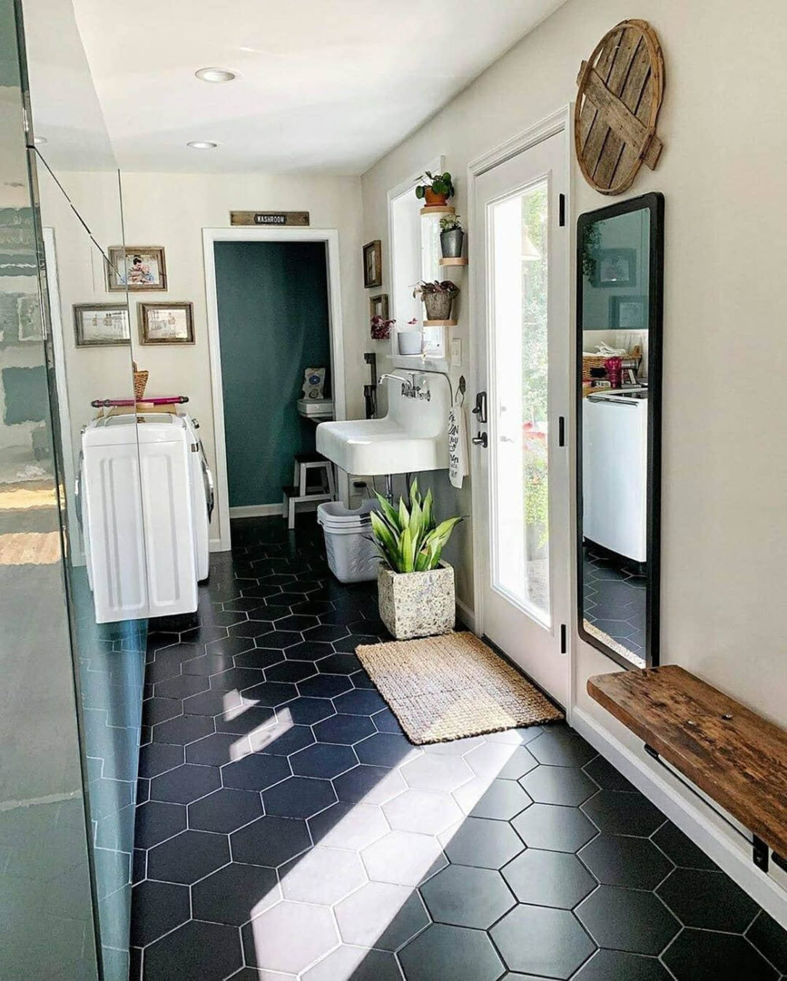 Laundry room with vintage accessories