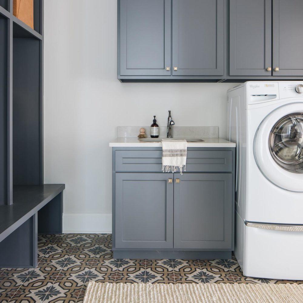 Encaustic-look laundry room floor tile