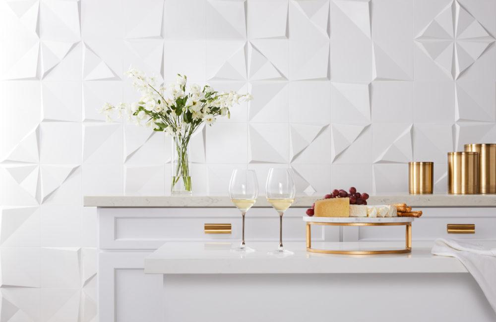 white geometric sculptural tile