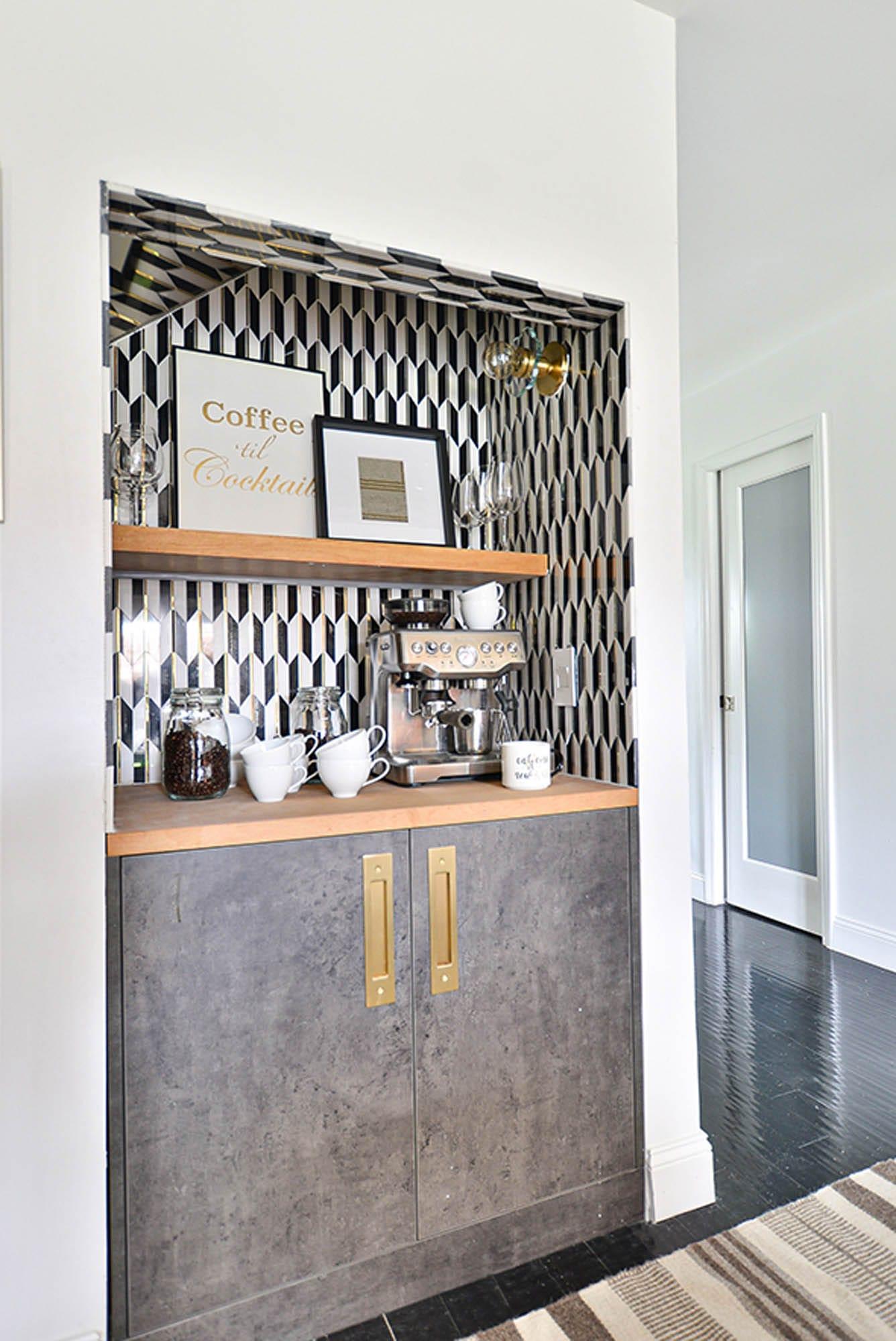 Art Deco tile mosaic coffee bar