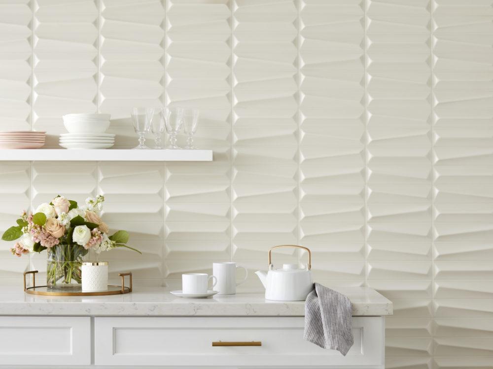 white geometric sculptural kitchen tile