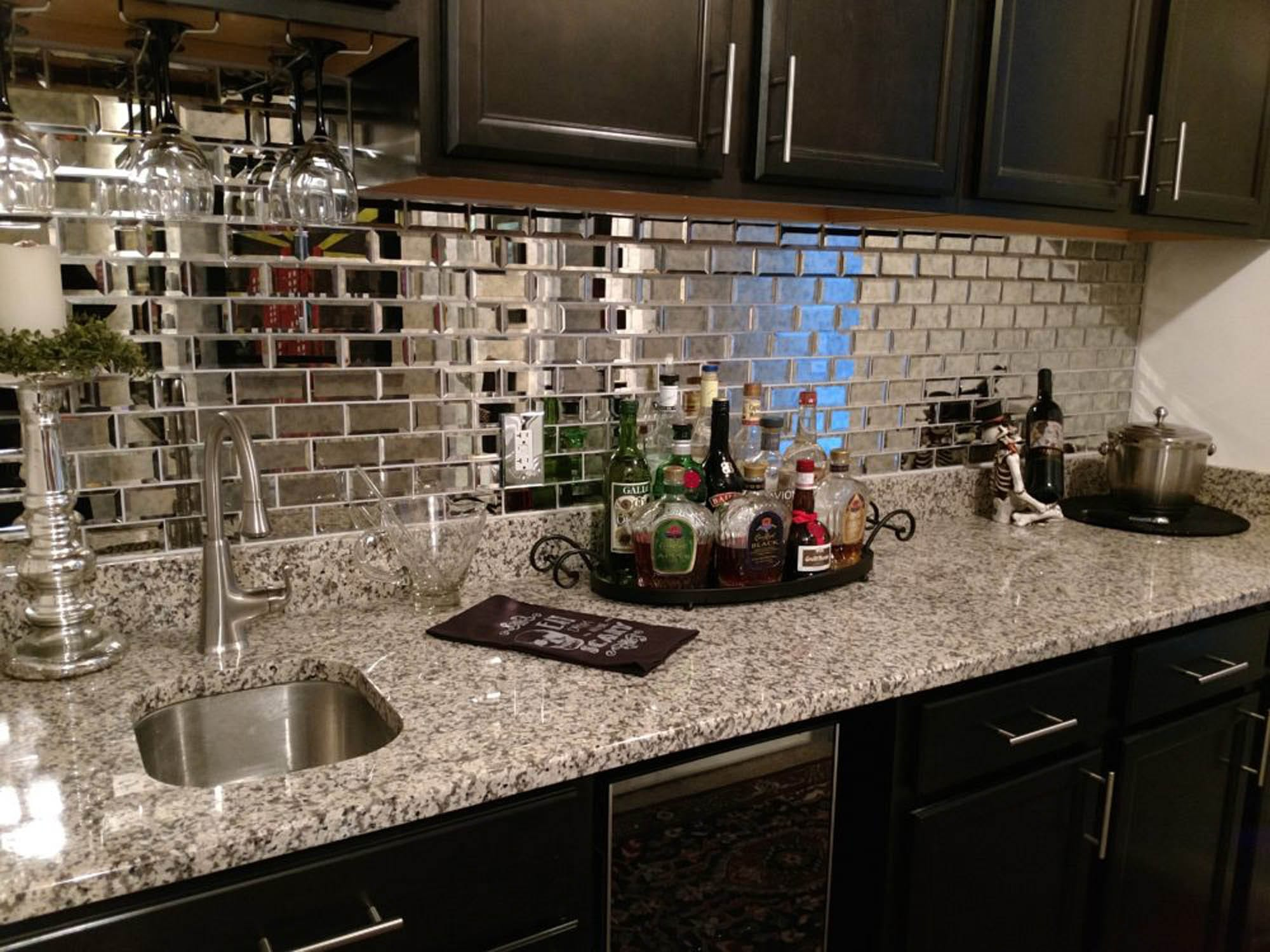 mirror tile wet bar
