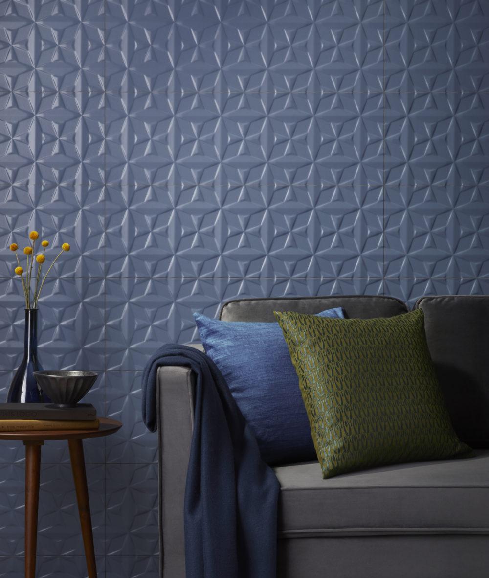 blue patterned sculptural tile