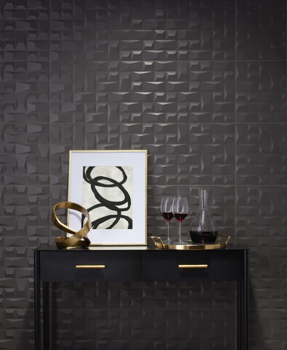 black mosaic-look sculptural tile