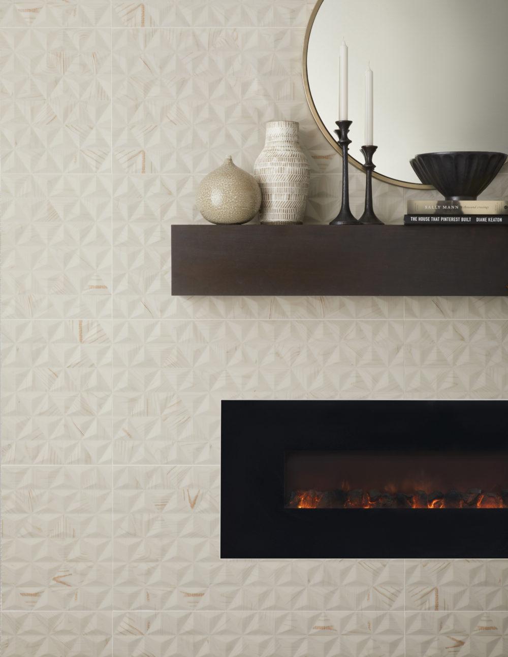 cream sculptural fireplace tile