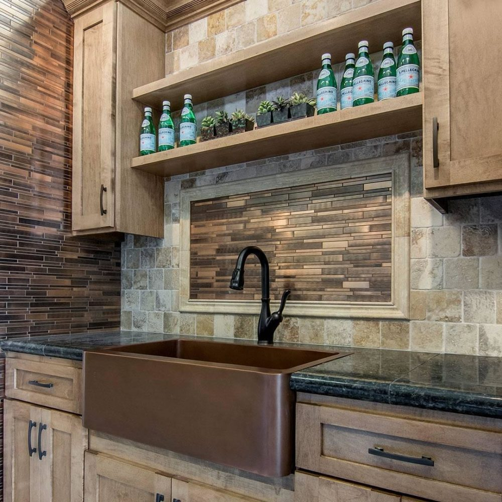 rustic travertine tile wet bar