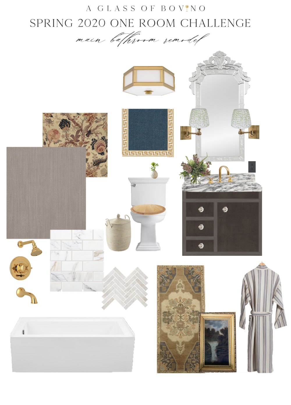 A Glass of Bovino bathroom mood board