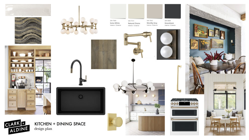 Clark + Aldine kitchen and dining space mood board