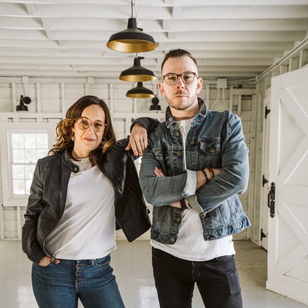 Clark + Aldine portrait photo in their home